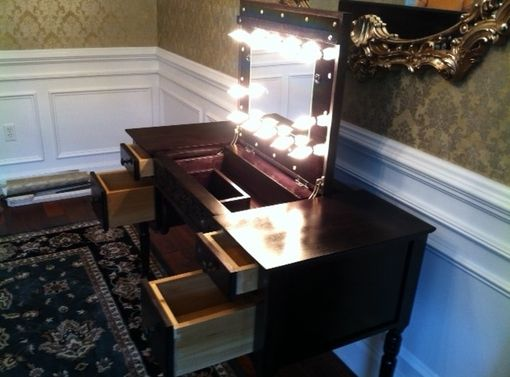 Custom Makeup Vanity W Lighted Forward Sliding Lift Up