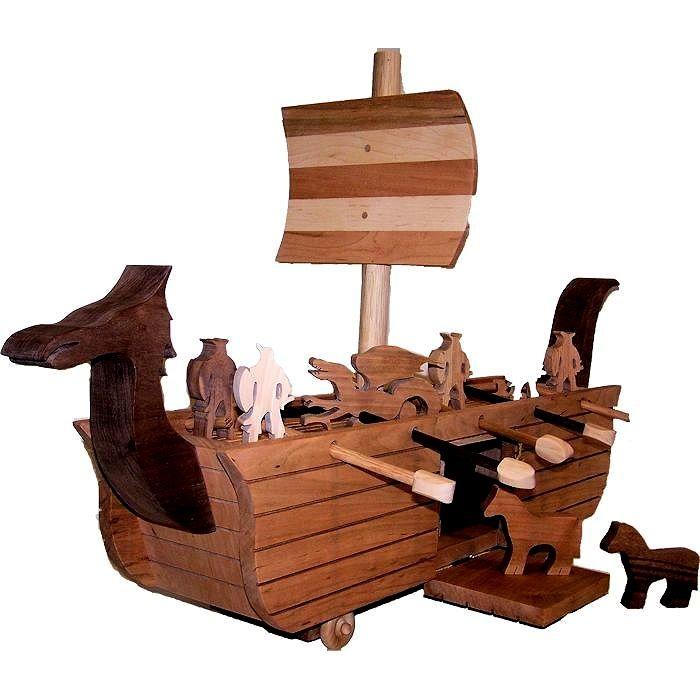 Handmade Custom Made Viking Ship By Tom Merrins Hardwood Toys