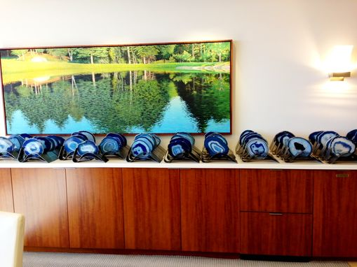 Custom Made Metal Sculptural Stands/Holders To Display Agate Slices And Three Lines Of Information.