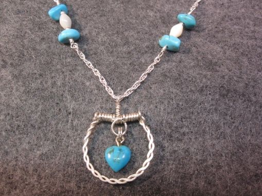 Custom Made Sterling Silver Wire Wrapped Turquoise Heart