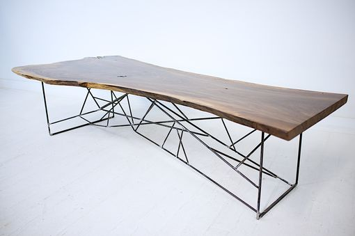 Custom Made Claro Walnut Slab Coffee Table, The Ricochet