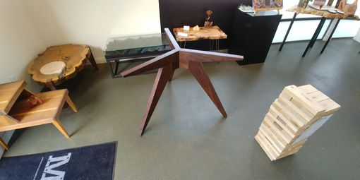 Custom Made Sue' Solid Walnut Tripod Base For 70 Inch Glass Tabletop