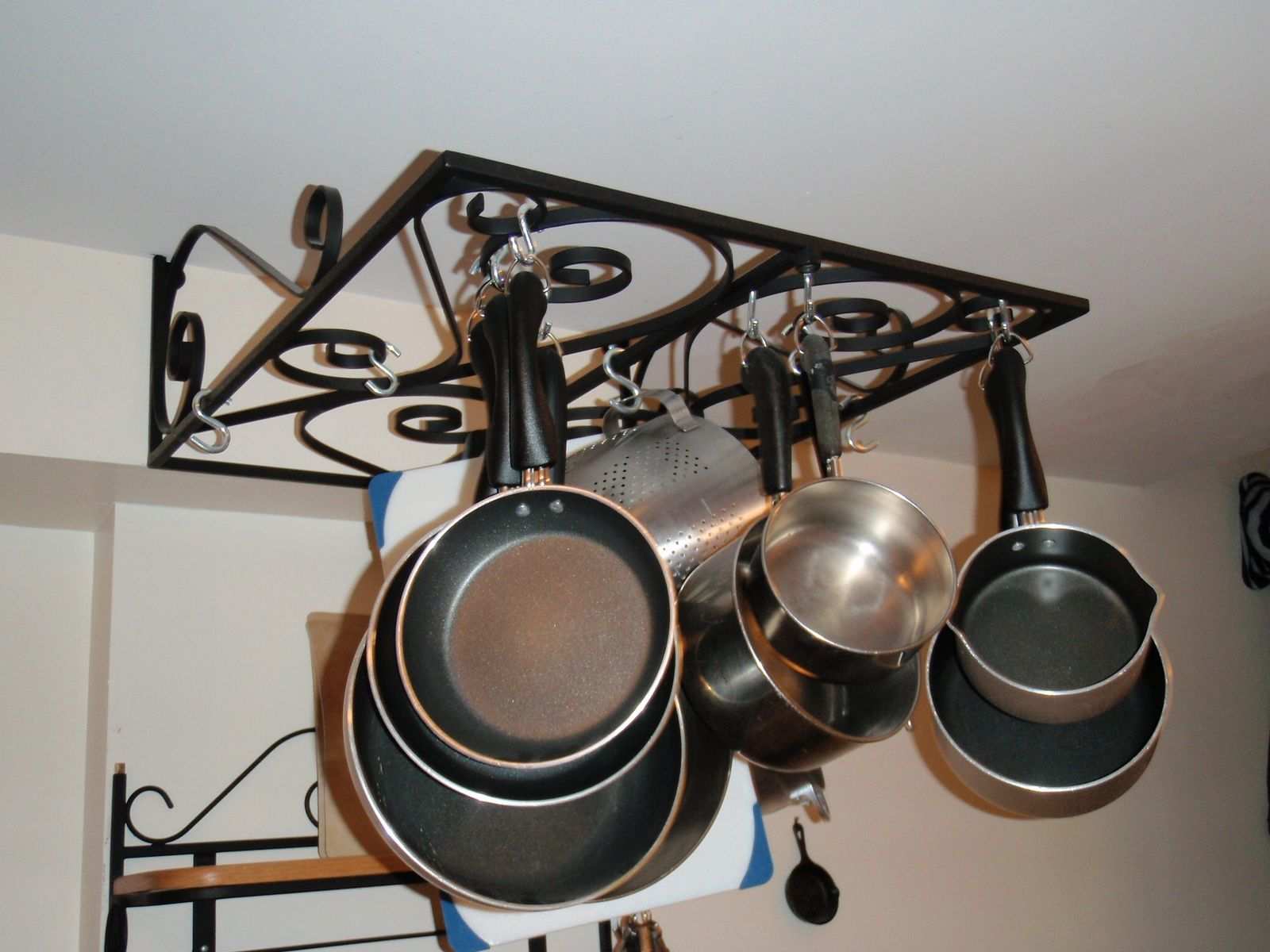 Custom Made Wrought Iron Wall Mounted Pot Rack
