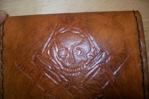 Custom Made Custom Leather Business Card Case With Masonic Design In Weathered Color