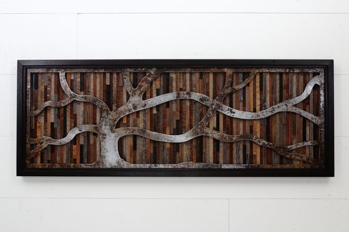 Custom Made Wood Wall Art Made Of Old Barnwood And Natural Steel 48x18