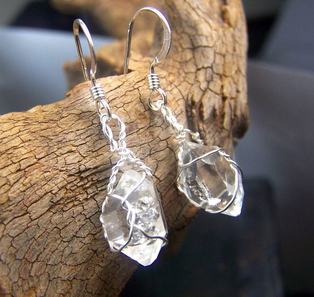 Custom Made Diamond Quartz Earrings Similar To Herkimer Diamonds Sterling Silver French Hook Ear