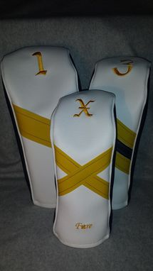 Custom Made Navy Blue, White And Yellow Custom Fore Leaf Golf Head Covers, Driver, Fairway, Hybrid