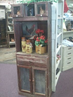 Custom Made Pale Red Barnwood Hutch With Roster Handle