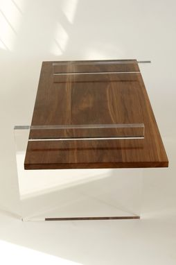 Custom Made Cast Acrylic & Walnut Coffe Table