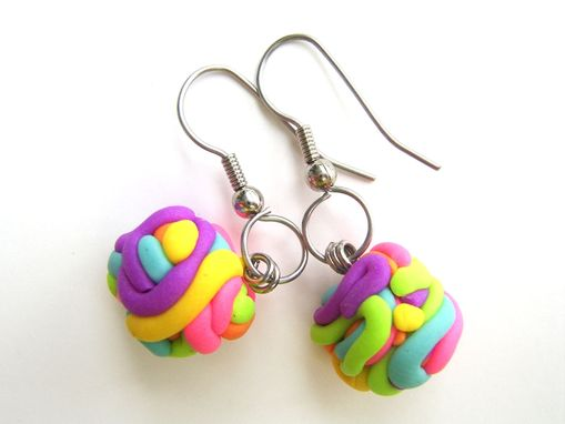 Custom Made Neon - Yarn Ball Earrings - 100% Hand-Crafted In Polymer Clay - Beautifully Packaged
