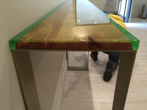 Custom Made Epoxy And Live Edge Hall Or Accent Table With Powdercoated Metal Legs