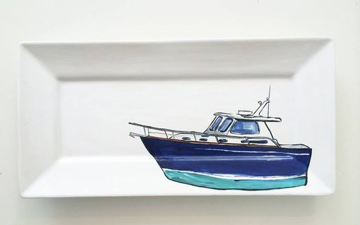 Custom Made Custom Boat Portraits On Handpainted Ceramic Platters