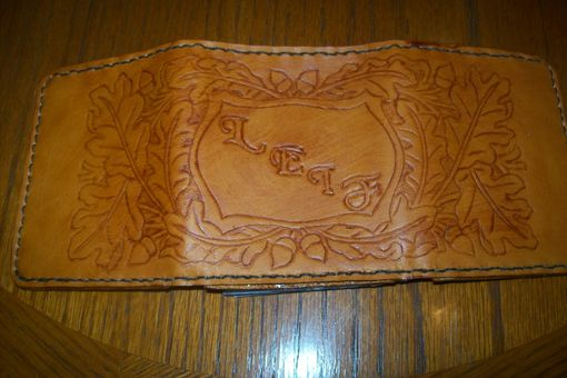 Custom Made Custom Leather Deluxe Trifold Wallet With Acorn Design, Personalization And In Weathered Color