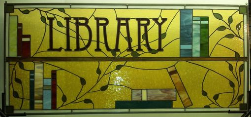 Custom Made Distinguished Stained Glass Library Window / Books And Leaves  (W-24)