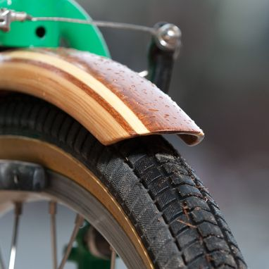 Custom Made Wooden Bicycle Fenders On A Fold-Up Bike Friday
