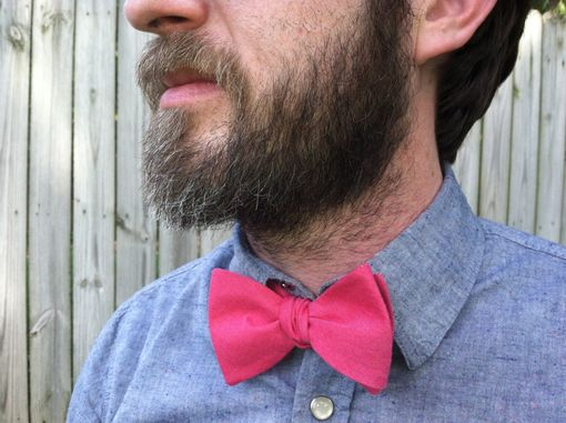 Custom Made Lazy Linen Bow Tie-Pink