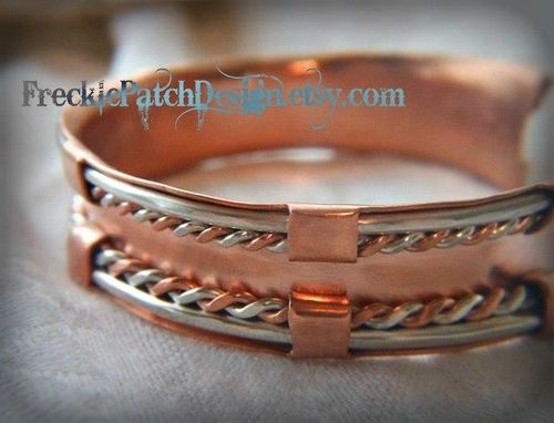 Custom Made Argentium Sterling Silver And Copper Cuff Bracelet