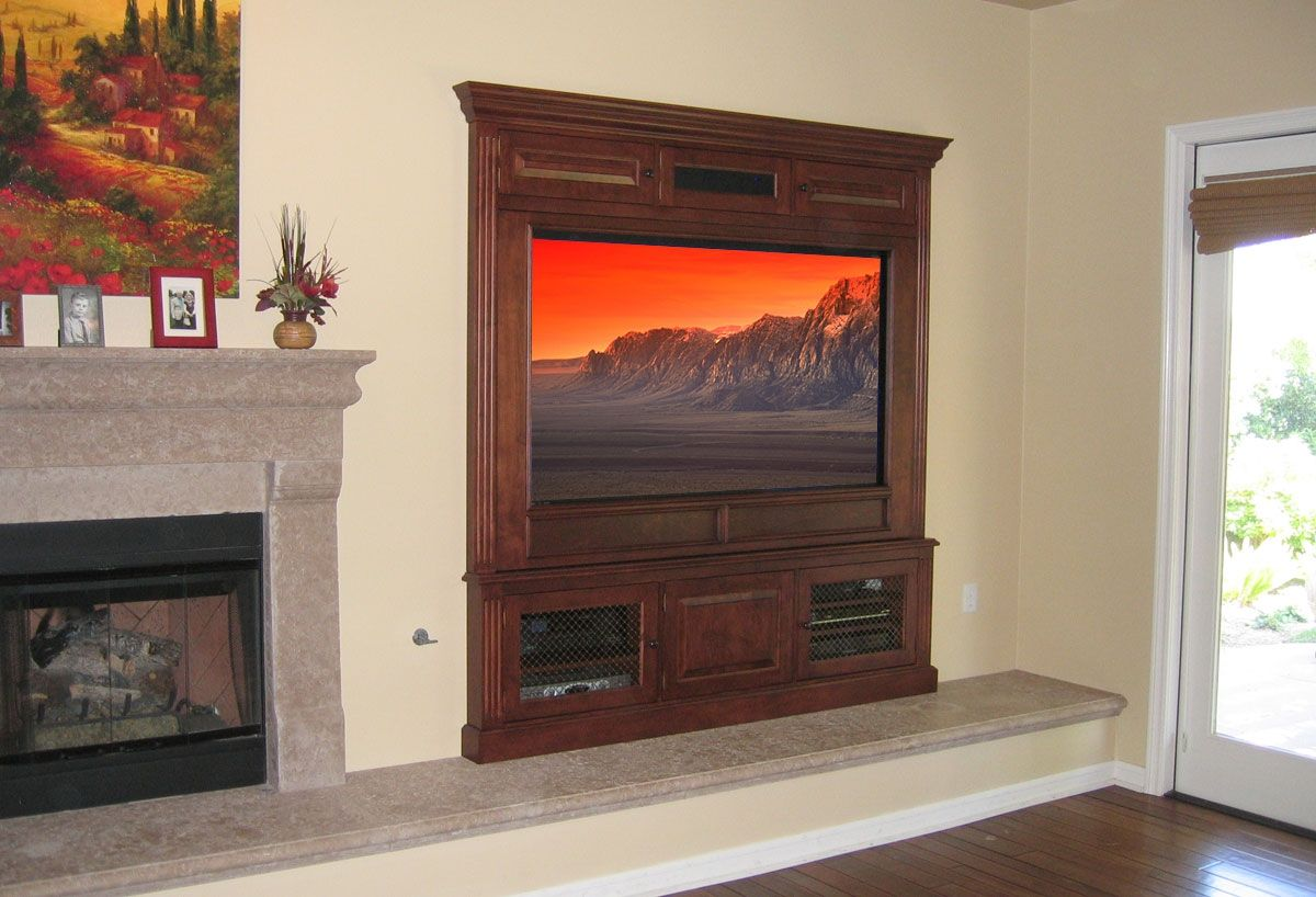 Custom Made Built In Fireplace Entertainment Center