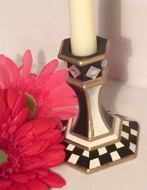 Custom Made Painted Glass Candlestick // Whimsical Candlestick // Painted Candle Holder