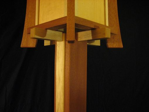 Custom Made Sapele And Maple Floor Lamp
