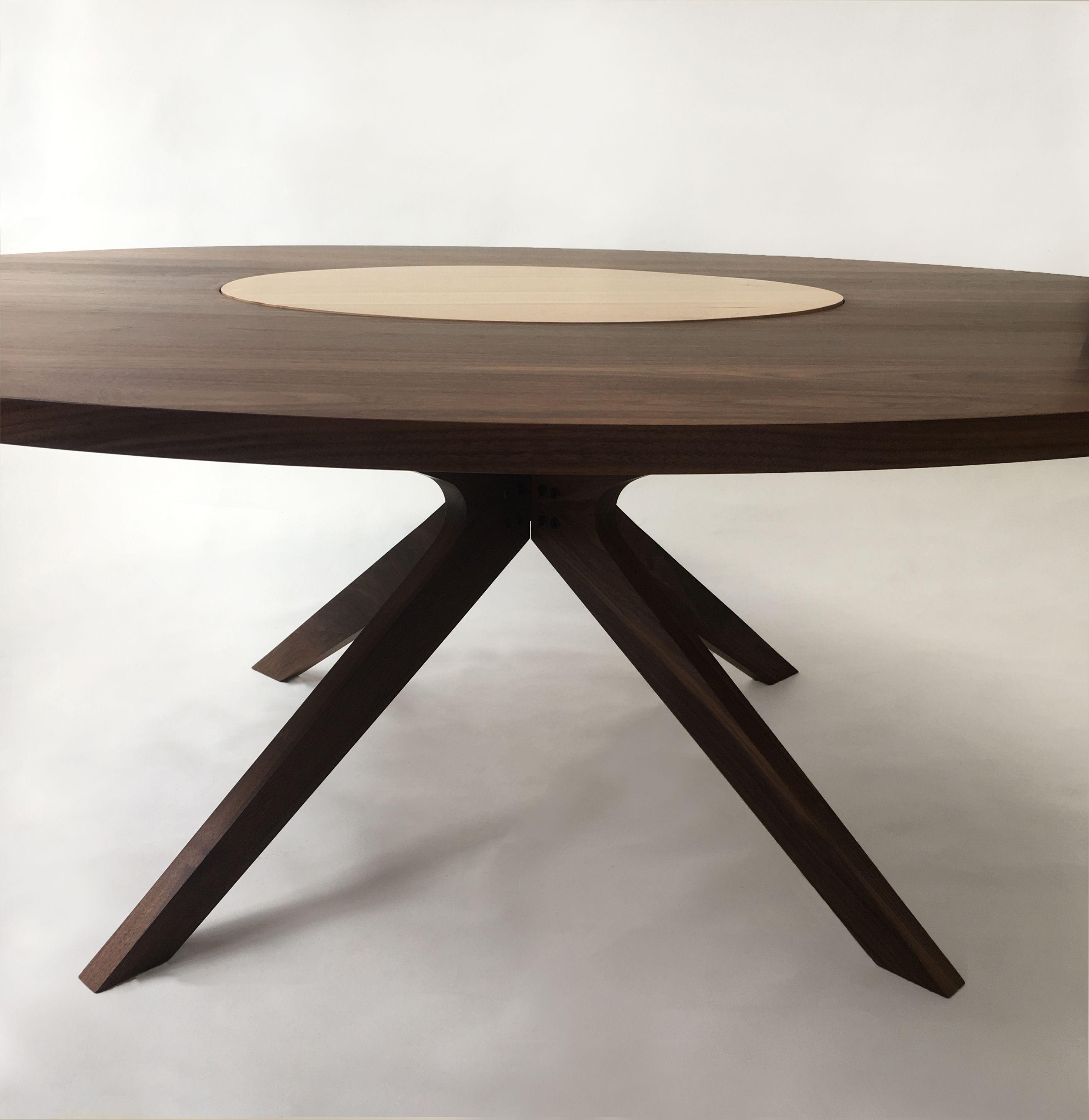 Custom Contemporary Modern Solid Walnut Round Dining