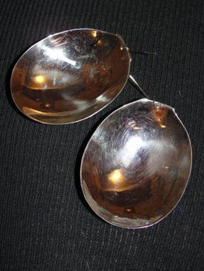 Custom Made Sterling Silver Over Brass Soup Spoon Earrings