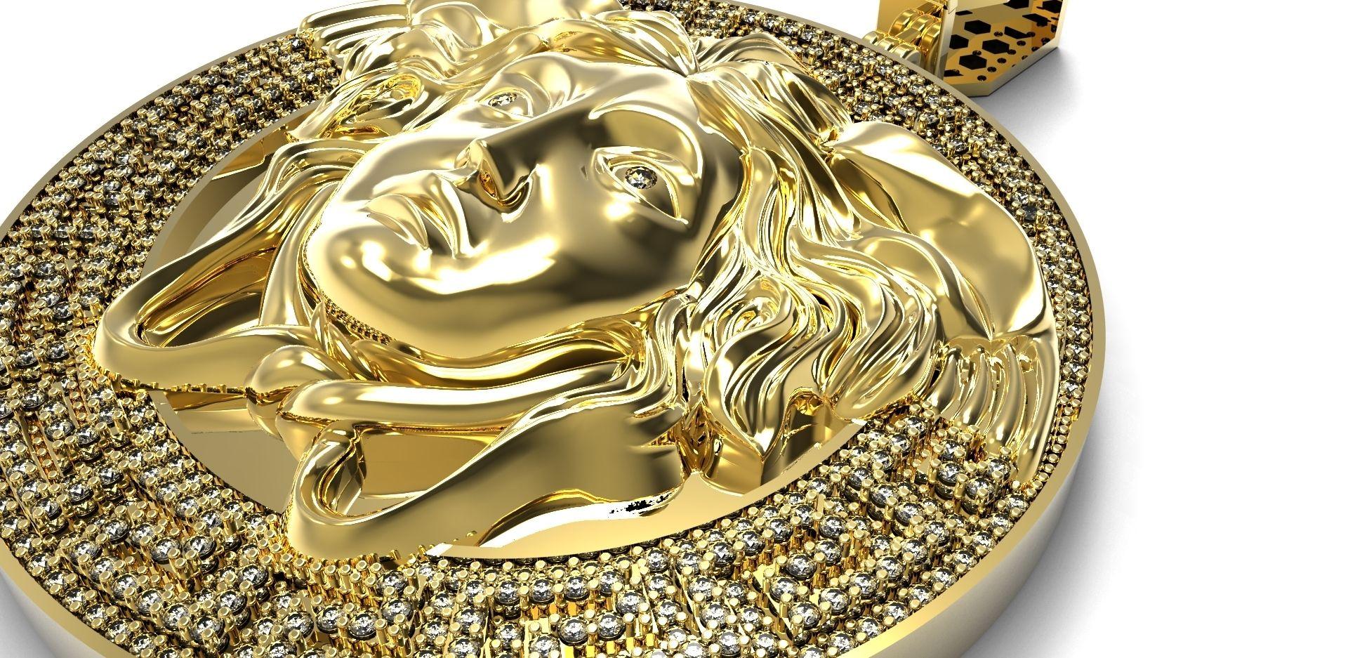 Hand crafted custom medusa head pendantcharm yellow gold with custom made custom medusa head pendantcharm yellow gold with diamonds aloadofball Image collections