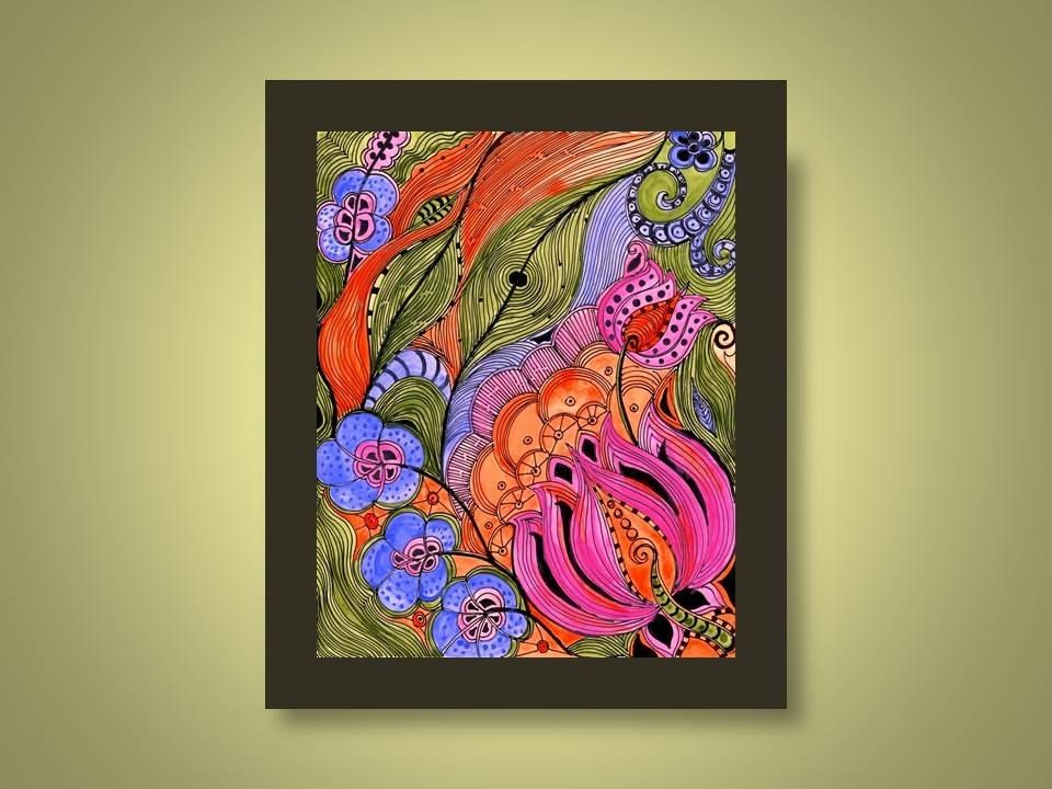 Handmade Fine Art Print Lotus Orange Pink Green Ink And Acrylic