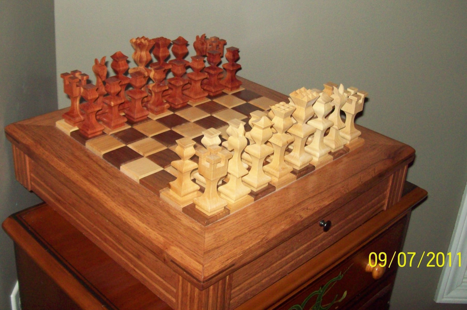 Hand Made Chess Board With Pieces By 4bz Customs