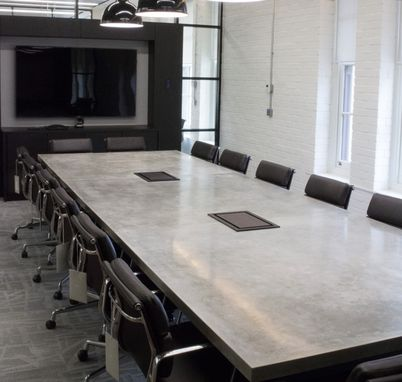 Custom Made Concrete Conference Room Table By Iron Works