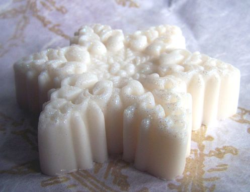 Custom Made Three Bars 3 Pack - Snowflake Soap With Glitter, Peppermint Vanilla Scent