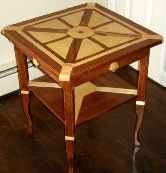 Custom Made Oak And Maple Side Table