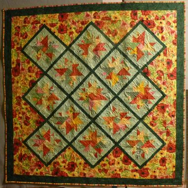 Custom Made Custommade Diamond Floral Large Throw Quilt