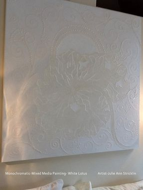 Custom Made Monochromatic Painting- White Lotus