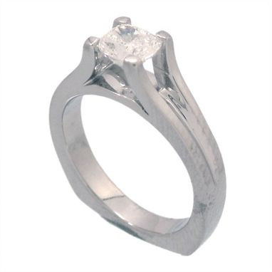 Custom Made Arched Cathedral Solitaire Engagement Ring