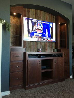 Custom Made Cherry Entertainment Center With Reclaimed Back