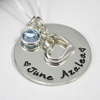 Custom Made Hand Stamped Mothers Necklace With Floating Heart