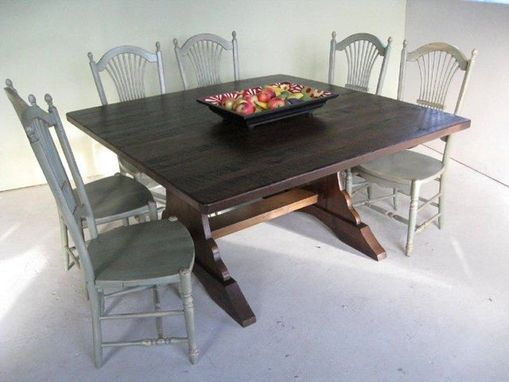 Custom Made Square Brown Cherry Trestle Dining Table