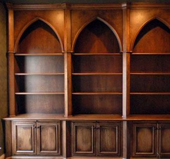 Hand Crafted Gothic Style Bookcases With Distressed Finish