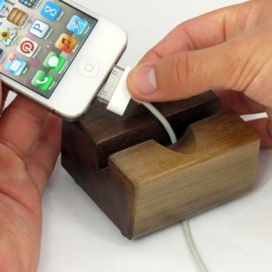 Custom Made Handmade Wood Iphone Docking Station Stand – Black Walnut