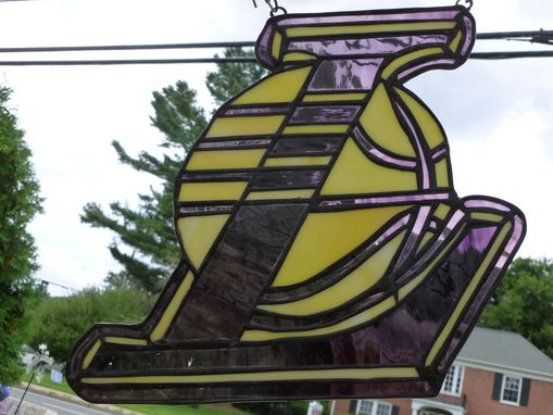 Custom Made Stained Glass Los Angeles Lakers Ornament