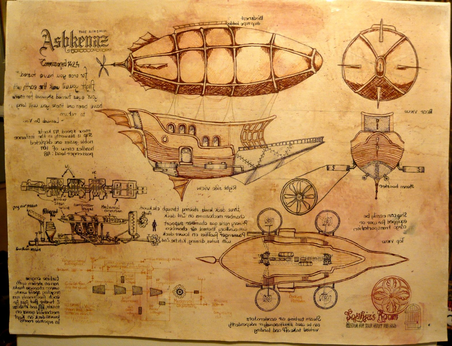 Hand Crafted Steampunk Airship Custom Drawing Painting By