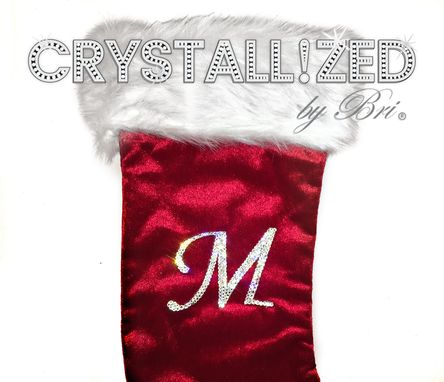 Custom Made Crystallized Initial Christmas Stocking Decor Bling W/ Swarovski Crystals Bedazzled