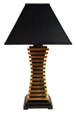 Custom Made 23k Gold Leaf Concave Sectional Table Lamp