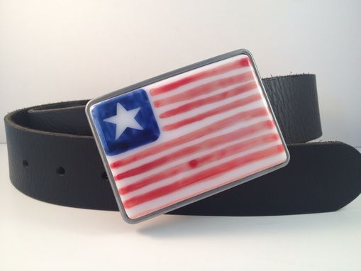 Custom Made Fused Glass Belt Buckle American Flag, Perfect For 4th Of July!