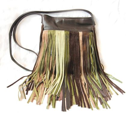 Custom Made Upcycled Leather Fringe Handbag - Multi-Colored
