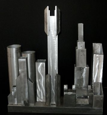 Custom Made Found/Recycled Metal Sculpture Industrial Aluminum Cyberpunk City Skyline