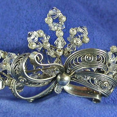 Custom Made Sterling Silver Bridal Tiara Made From 1950'S Vintage Jewelry