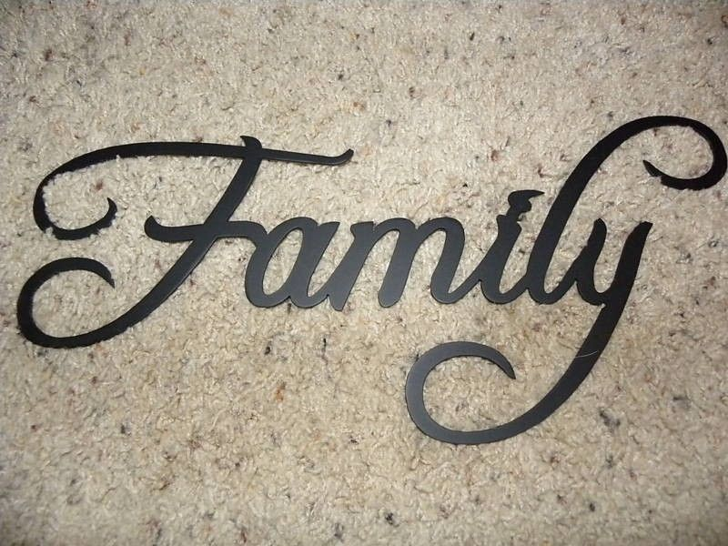 Custom Made Family Word Decorative Metal Wall Art Home Decor