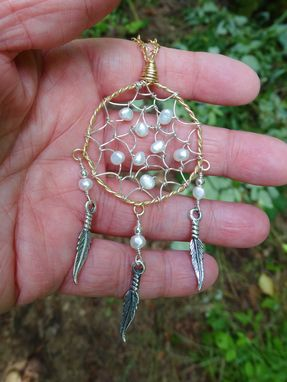 Custom Made Dream Catcher In Sterling Silver And Gold-Filled With Pearls